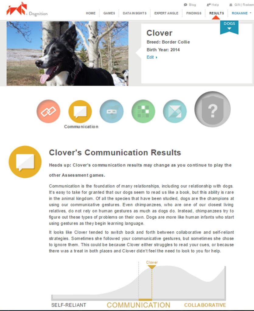 clover dognition communication game results