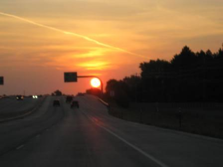best dog blog, champion of my heart, sunrise photo with highway in the foreground