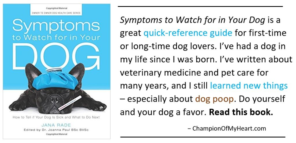 book review symptoms to watch for in your dog, book cover and review quote graphic