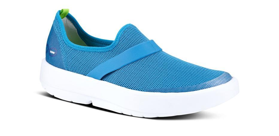 teal and white walking shoes from OOFOS